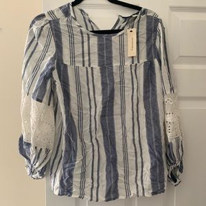Francesca blue and white blouse. Runs Small!!